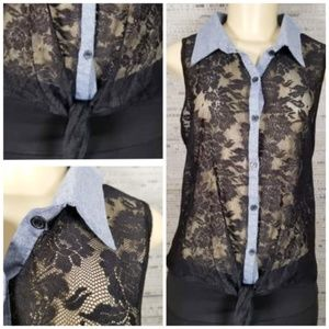 NWT Free Kisses Black Lace & Denim Collared Tank